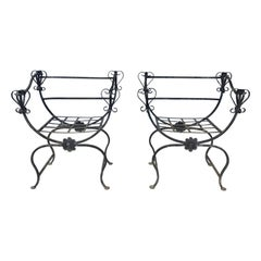 Unusual Pair Iron Chairs, Custom Made, Savonarola Style, Indoor /Outdoor