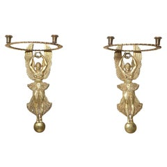 Unusual Pair of 19th Century Egyptian Revival Bronze Figural Sconces