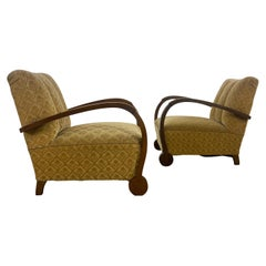 Unusual Pair of Art Deco German Armchairs/Club Chairs from 1920s, Bauhaus Style