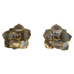 Unusual Pair of Brass and Metal Flower Wall Sconces, circa 1970