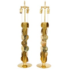 Unusual Pair of Brass Lamps with Applied Circular Brass Discs