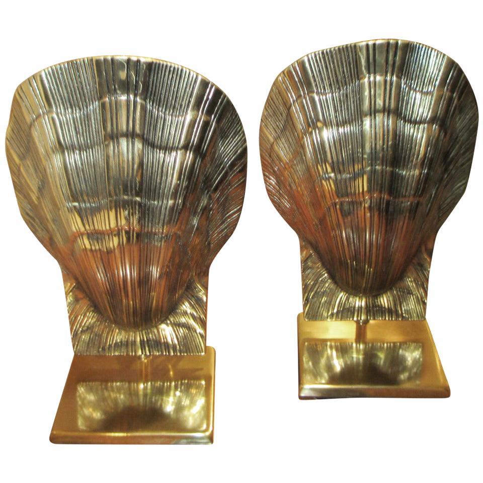Unusual Pair of Brass Shell Lamps
