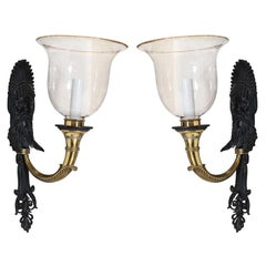 Unusual Pair of Bronze and Brass Sconces by E F Caldwell