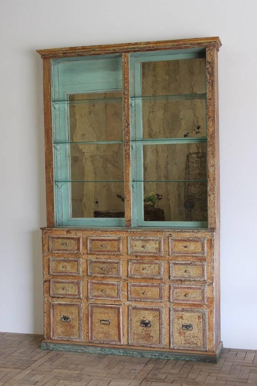 Unusual Pair Of 19th Century Spanish Display Cabinets In Original Paint For  Sale At 1stdibs