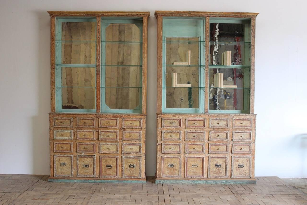 Beau Unusual Pair Of 19th Century Spanish Display Cabinets In Original Paint For  Sale At 1stdibs