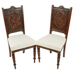 Unusual Pair of Carved Walnut Chairs, 19th Century