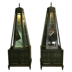 Unusual Pair of Decorative Pyramidal Curio Cabinets, Vitrines by Union National