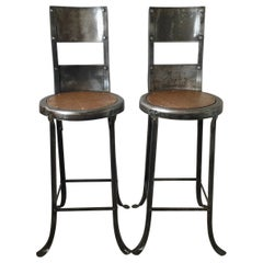 Unusual Pair of Early High Back Stools or Chairs