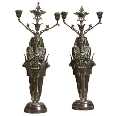 Unusual Pair of Egyptian Revival Candelabra, 19th Century
