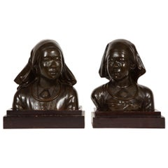 Unusual Pair of French Japonism Bronze Busts of Girls