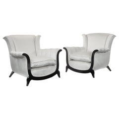 Unusual Pair of French Mid-20th Century Armchairs in a Crushed Velvet