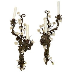 Unusual Pair of French Tole and Iron Sconces with White Porcelain Flowers