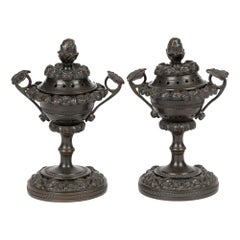 Unusual Pair of Georgian Patinated Bronze Lidded Pot Pourri Vases