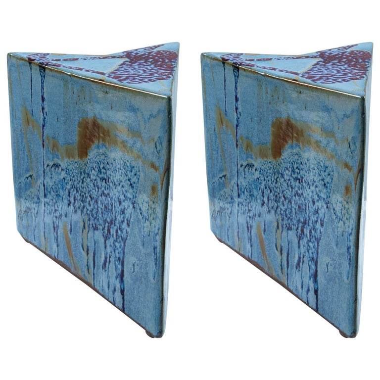 Unusual Pair of Glazed Ceramic Low Tables For Sale