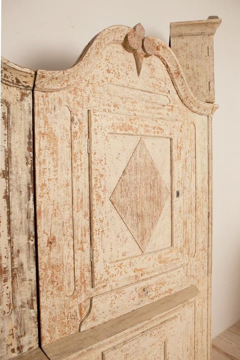 Wood Unusual Pair of Gustavian Corner Clock Cabinets, Origin Mora, Sweden, Circa 1780 For Sale