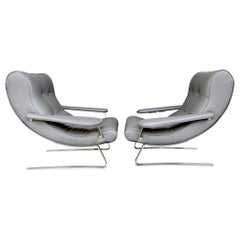 Unusual Pair of Italian 1970s Cantilevered Armchairs with Brushed Metal Legs