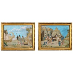 Unusual Pair of Italian Silk Embroidery and Gouache Painted Paper Pictures