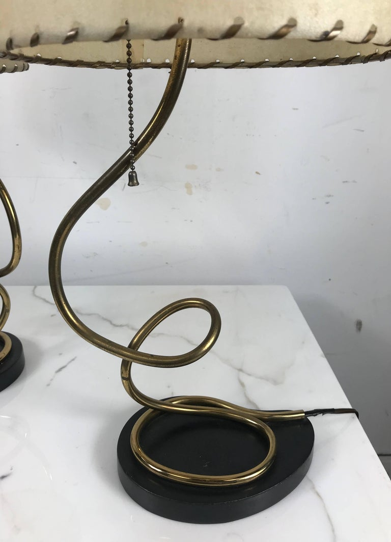 American Unusual Pair of Majestic Brass, Metal and Parchment Table Lamps For Sale