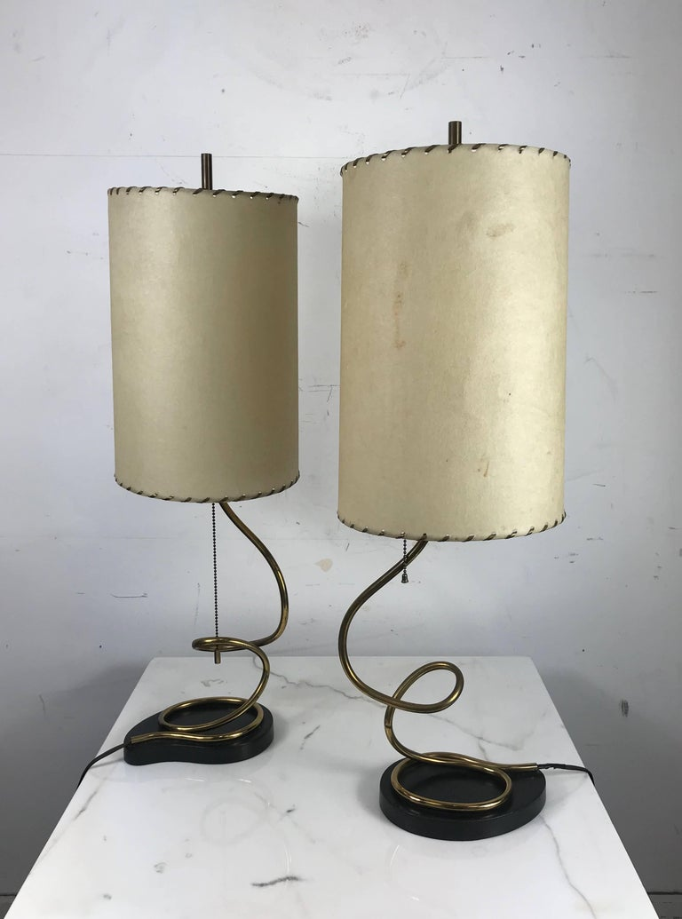 Unusual Pair of Majestic Brass, Metal and Parchment Table Lamps In Good Condition For Sale In Buffalo, NY