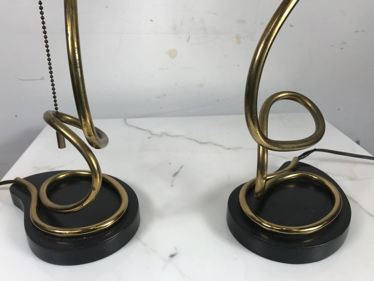 20th Century Unusual Pair of Majestic Brass, Metal and Parchment Table Lamps For Sale