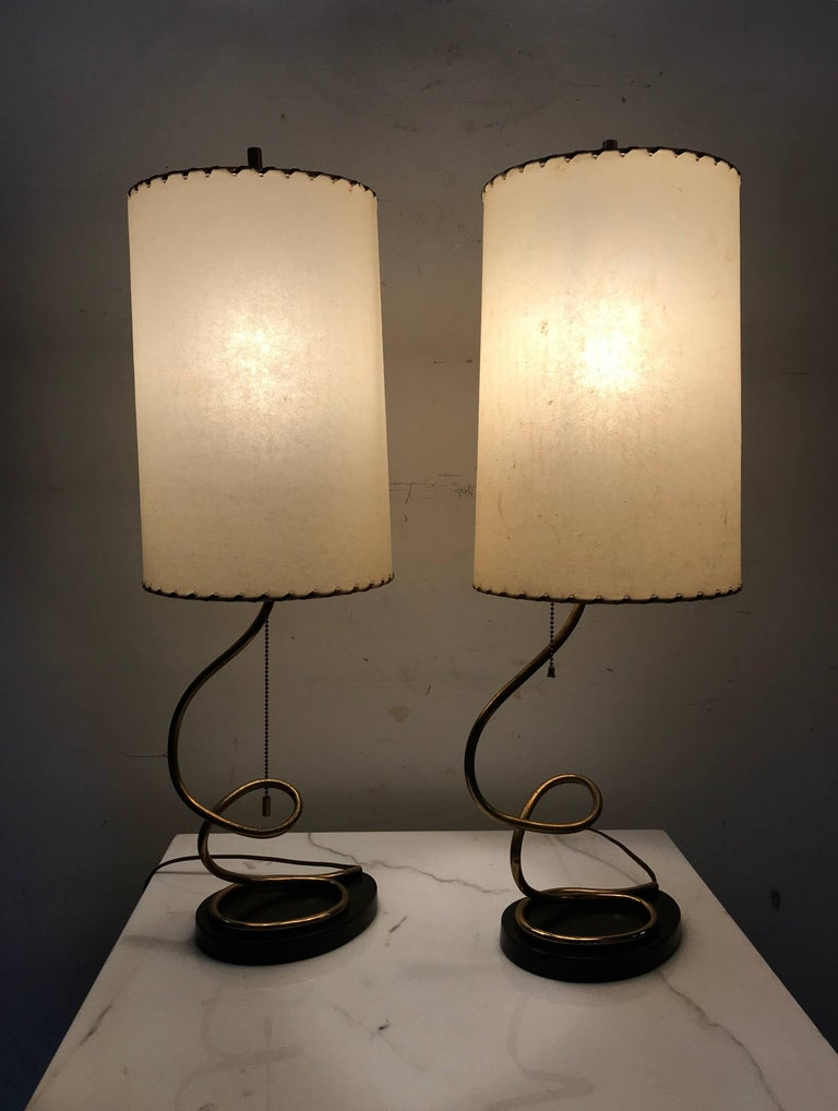 Unusual Pair of Majestic Brass, Metal and Parchment Table Lamps For Sale 1