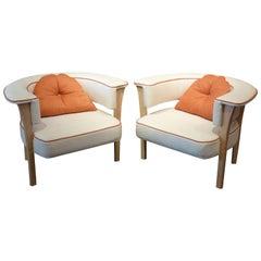 Unusual Pair of Midcentury Style Modern Armchairs, Unusual Pair of Midcentury