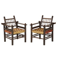 Unusual Pair of Spindle Back Armchairs with Woven Seats