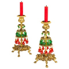 Unusual Pair of Victorian Christmas Candlesticks