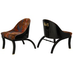 Unusual Pair of Vintage Ebonized Lounge Chairs with Bronze Pulls