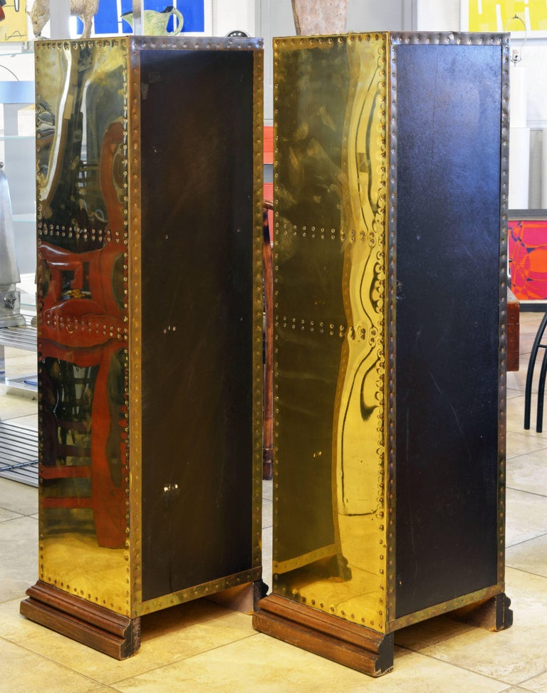 Anglo-Indian Unusual Pair of Vintage Sarreid Style Copper Nail Brass Clad Pedestal Cabinets For Sale