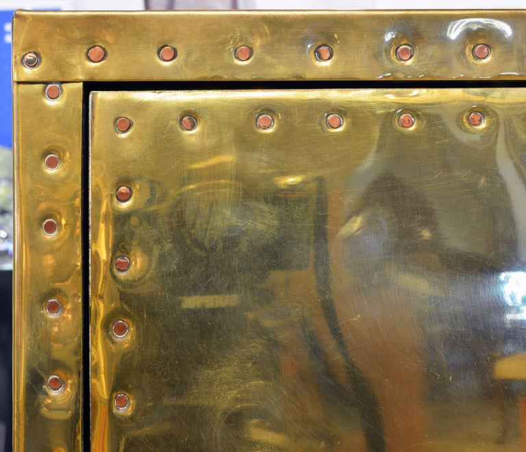 20th Century Unusual Pair of Vintage Sarreid Style Copper Nail Brass Clad Pedestal Cabinets For Sale