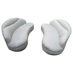Unusual Pair of  Weiman Ruched Kidney Shaped Curved Sofa