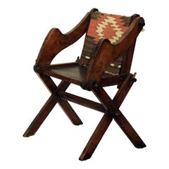 Unusual Patinated Oak Arts & Crafts Side Chair with Vintage Navajo Fabric