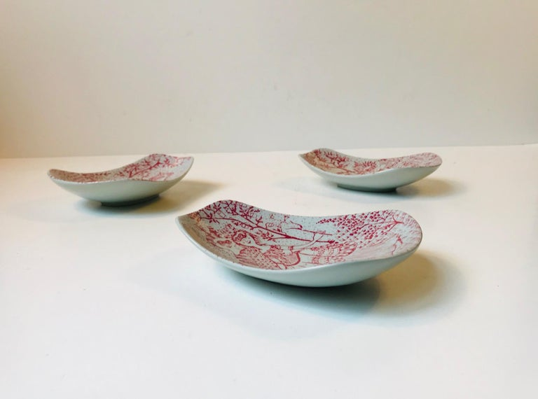 Unusual Pottery Bowls by Bjorn Wiinblad for Nymølle, 1970s, Set of 3 2