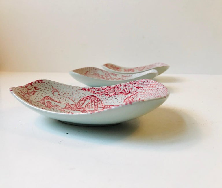 Unusual Pottery Bowls by Bjorn Wiinblad for Nymølle, 1970s, Set of 3 3