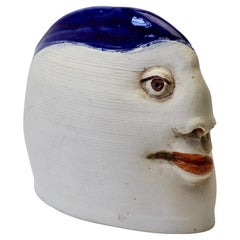 Unusual Quirky Vintage Hand Thrown Glazed Pottery Sculpture of a Head with Face