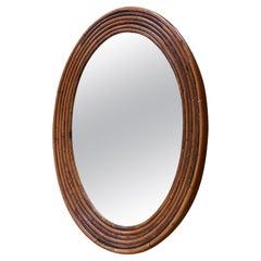 Unusual Rattan Oval Mirror, 1970's