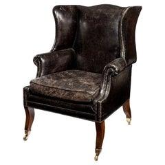 Unusual Regency Mahogany Sabre Leg Armchair