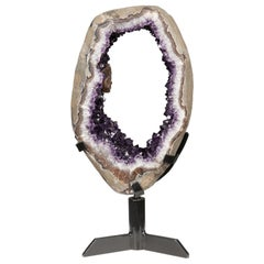 Unusual Rotating Geode Slice with Amethyst Peaks and Calcite on Metal Stand