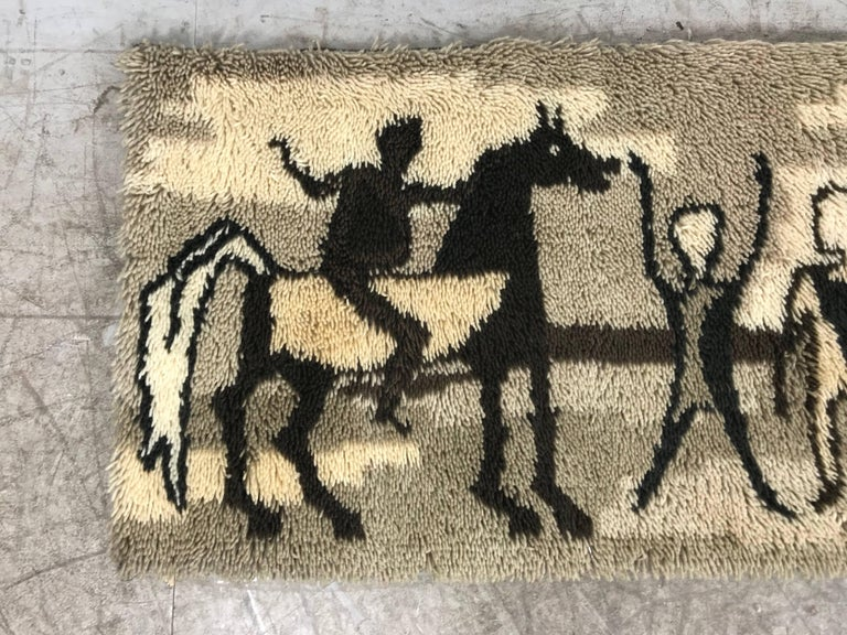 Unusual Rya Rug, Wall Hanging from Ege Taepper of Denmark In Excellent Condition For Sale In Buffalo, NY