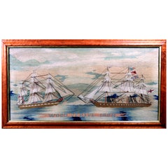 "Unusual Sailor's Woolwork 'Woolie' of Two Royal Navy Ships, Titled ""Wood Versus"