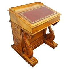 Unusual Satin Birch Davenport Desk, circa 1860