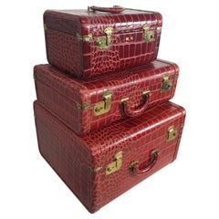 Unusual Set of 3 Red Leather, Faux Alligator Luggage, with Cosmetic Case