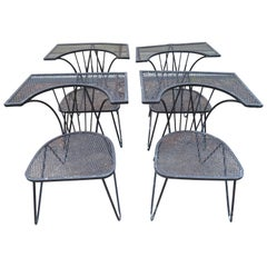 Unusual Set of 4 Geometric Salterini Patio Chairs Mid-Century Modern
