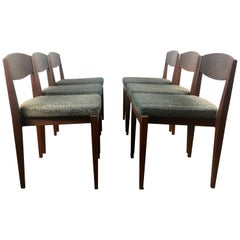 Unusual Set of 6 American Modernist Dining Chairs, Architectural Design