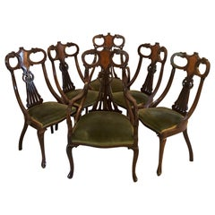 Unusual Set of Six Antique Mahogany Inlaid Dining Chairs