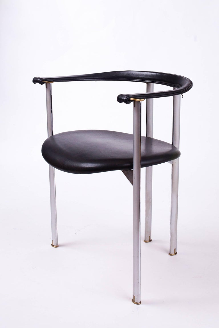 Modern Unusual Set of Three B&B Italia Dining Chairs in Steel and Leather, Italy 1980's For Sale