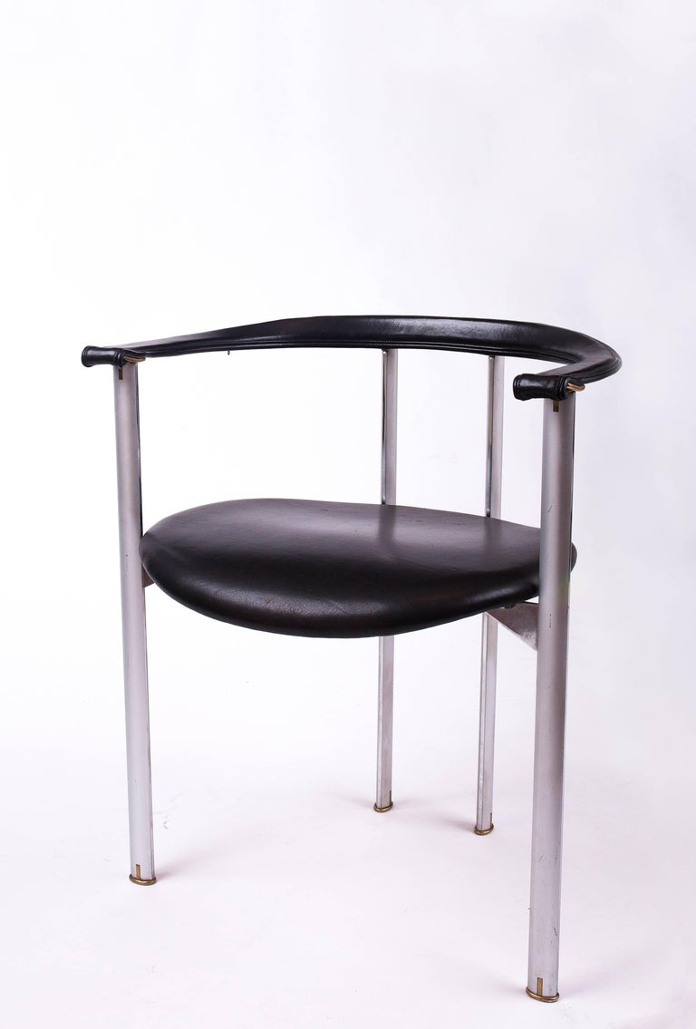 Unusual Set of Three B&B Italia Dining Chairs in Steel and Leather, Italy 1980's In Excellent Condition For Sale In New York, NY