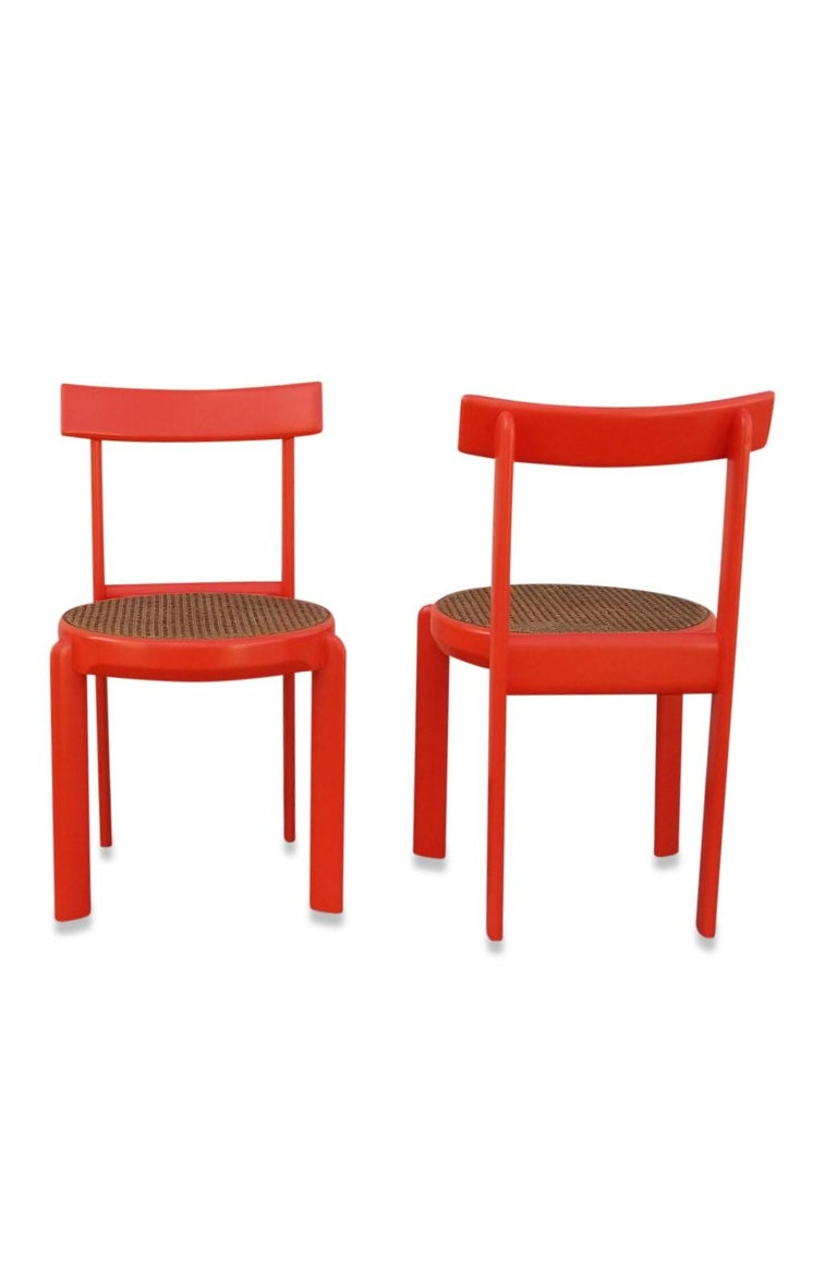 Oak Unusual Set of two Caning and Orange Lacquer Chairs, France, 1970s For Sale