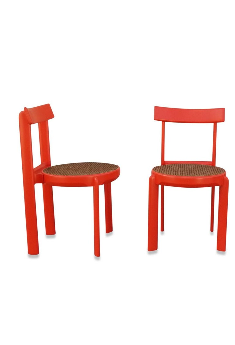 Unusual Set of two Caning and Orange Lacquer Chairs, France, 1970s For Sale 1